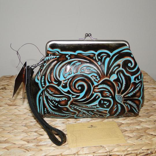Patricia Nash Designs Savena Leather Tooled Wristlet in Turquoise Image 5