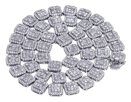 Preload https://img-static.tradesy.com/item/25779382/jewelry-unlimited-white-gold-14k-12mm-halo-baguette-diamond-chain-3975-ct-22-necklace-0-0-540-540.jpg