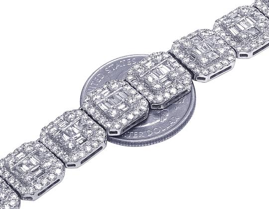 Jewelry Unlimited 14K White Gold 12MM Halo Baguette Diamond Chain Necklace 39.75 CT 22