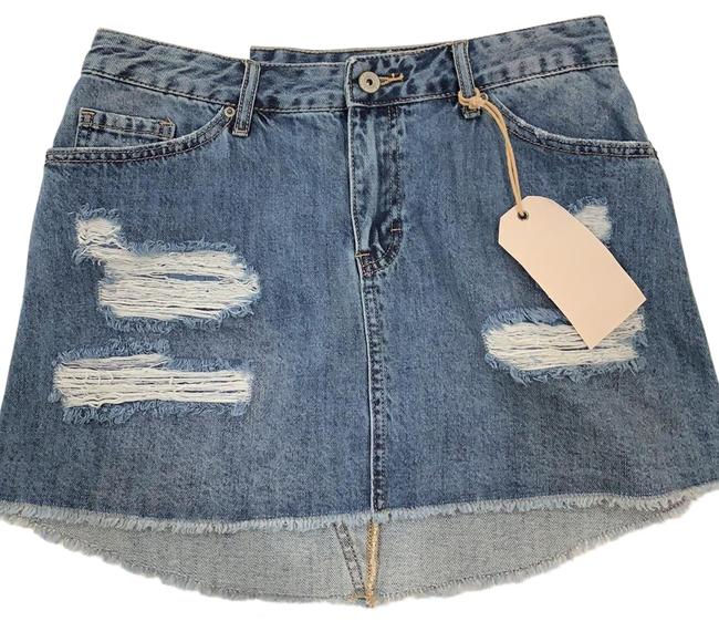 Vanilla Star Mini Skirt Blue Denim Image 0