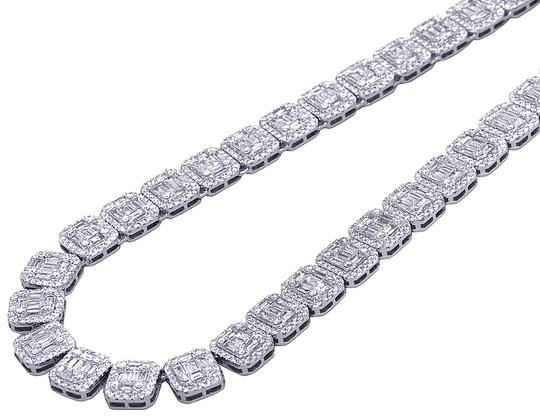 Jewelry Unlimited 14K White Gold 10MM Halo Baguette Diamond Chain Necklace 35.5 CT 21