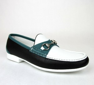 Gucci White Black Blue Horsebit Men's Leather Loafer Moccasin 337060 Ayo70 Size 9/Us 10 Shoes