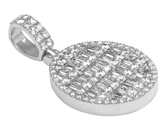 Jewelry Unlimited 10K White Gold Real VS Diamond Oval Baguette Pendant 3.8 CT 1.5
