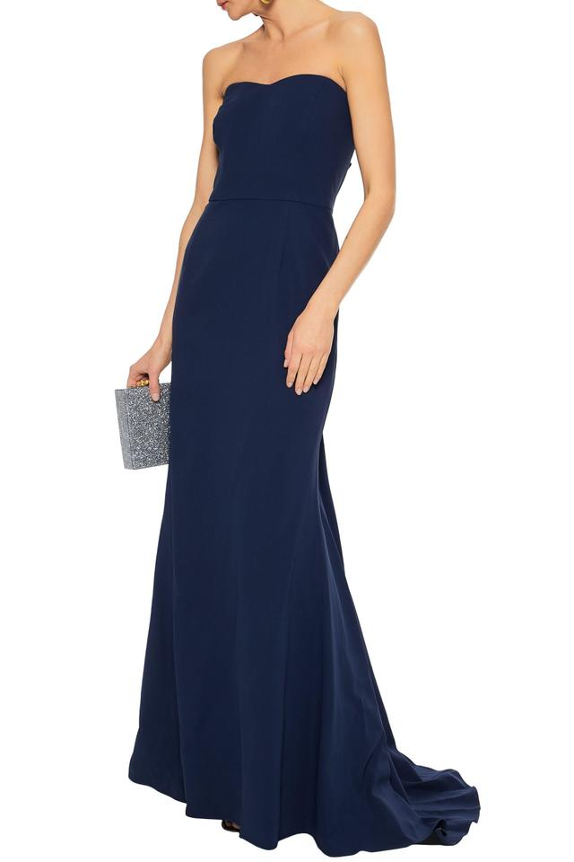 Carolina Herrera Blue Strapless Fluted Silk Crepe Gown Long Formal Dress Size 12 L 84 Off Retail