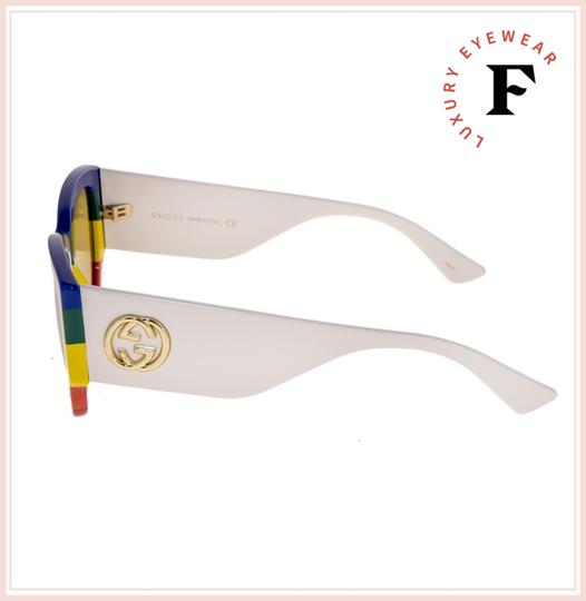 Gucci GUCCI White Rainbow Stripe 0276 Brown Geometric Sunglasses GG0276S Image 2