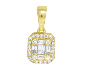 Jewelry Unlimited 14K Yellow Gold Real Diamond Ladies Baguette Octagon Pendant 0.5 CT