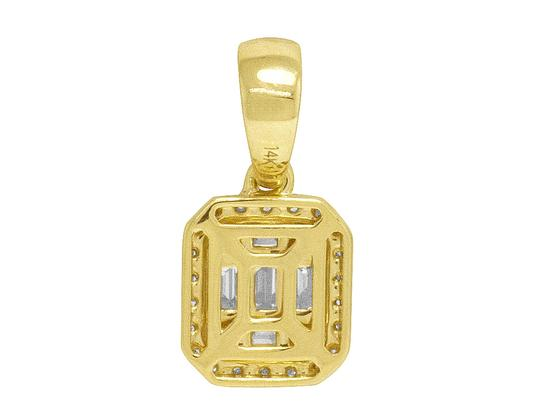 Jewelry Unlimited 14K Yellow Gold Real Diamond Ladies Baguette Octagon Pendant 0.5 CT Image 3