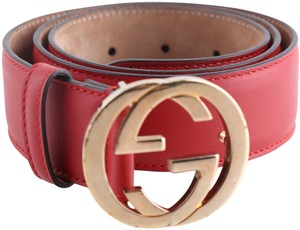 Gucci Gucci Red Leather Belt with Interlocking G