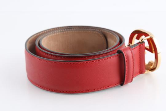 Gucci Gucci Red Leather Belt with Interlocking G Image 2