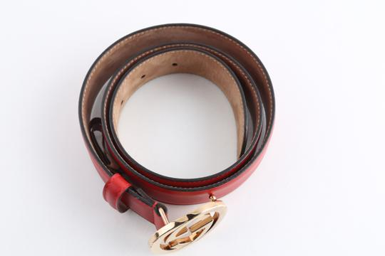 Gucci Gucci Red Leather Belt with Interlocking G Image 3
