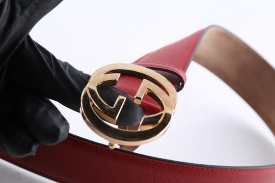 Gucci Gucci Red Leather Belt with Interlocking G Image 8