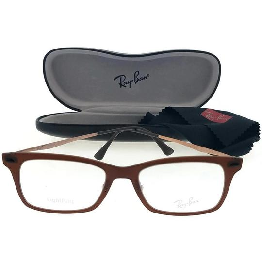 Ray-Ban RX7039-5450-51 Light Ray Unisex Brown Frame Clear Lens Eyeglasses NWT Image 2