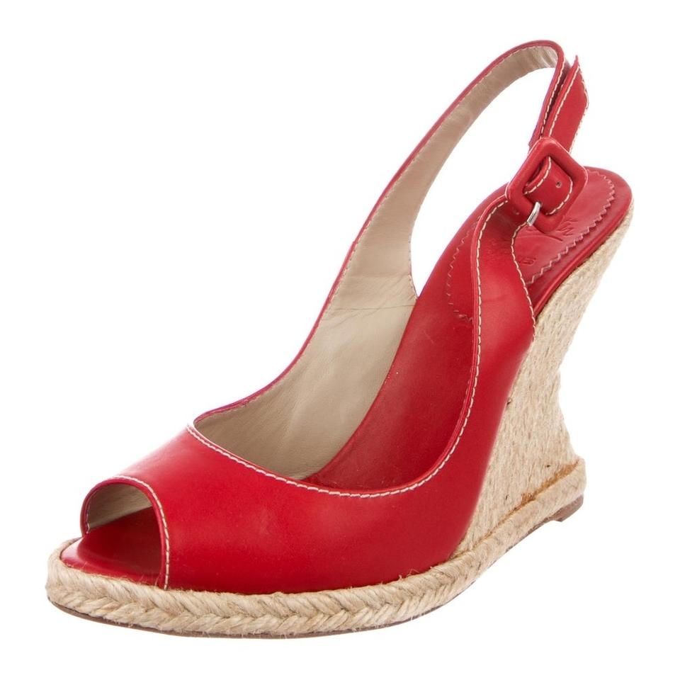 0bc6d2fc575 Christian Louboutin Red You Love Leather Espadrille Sandal Wedges Size EU  37 (Approx. US 7) Regular (M, B) 63% off retail
