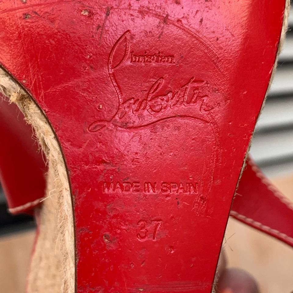 4eb698e39b8 Christian Louboutin Red You Love Leather Espadrille Sandal Wedges Size EU  37 (Approx. US 7) Regular (M, B) 63% off retail