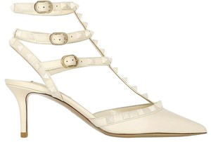 Valentino Studded Pointed Toe Leather Ankle Strap Stiletto Ivory Pumps