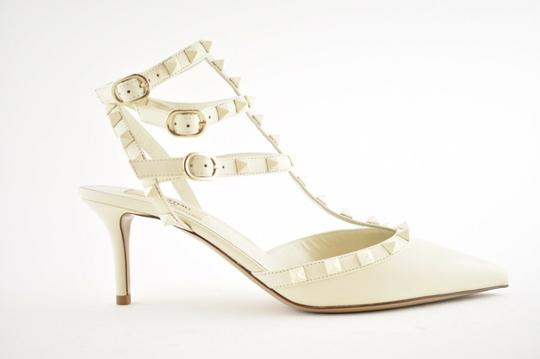 Valentino Studded Pointed Toe Leather Ankle Strap Stiletto Ivory Pumps Image 1