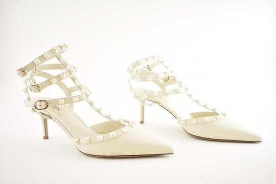 Valentino Studded Pointed Toe Leather Ankle Strap Stiletto Ivory Pumps Image 2