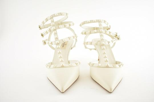 Valentino Studded Pointed Toe Leather Ankle Strap Stiletto Ivory Pumps Image 3