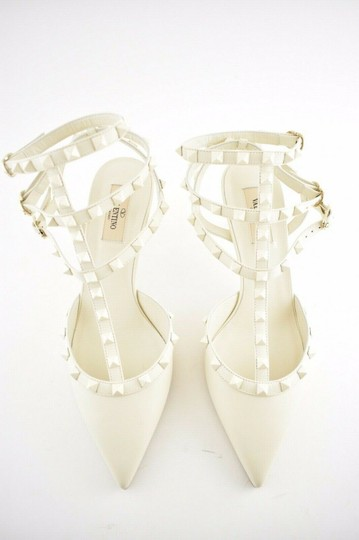Valentino Studded Pointed Toe Leather Ankle Strap Stiletto Ivory Pumps Image 4