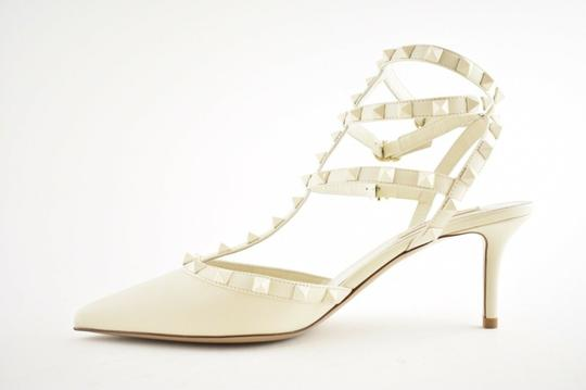 Valentino Studded Pointed Toe Leather Ankle Strap Stiletto Ivory Pumps Image 5