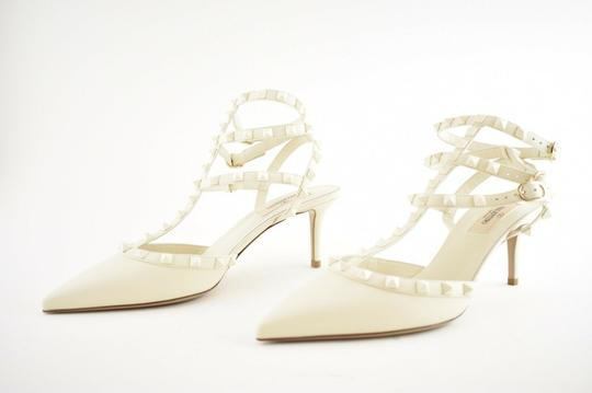 Valentino Studded Pointed Toe Leather Ankle Strap Stiletto Ivory Pumps Image 6