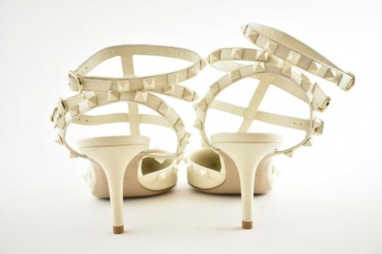Valentino Studded Pointed Toe Leather Ankle Strap Stiletto Ivory Pumps Image 7