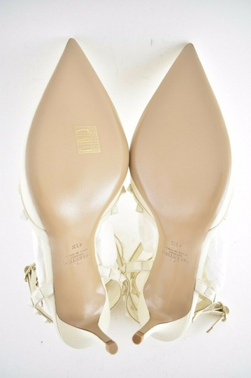 Valentino Studded Pointed Toe Leather Ankle Strap Stiletto Ivory Pumps Image 8