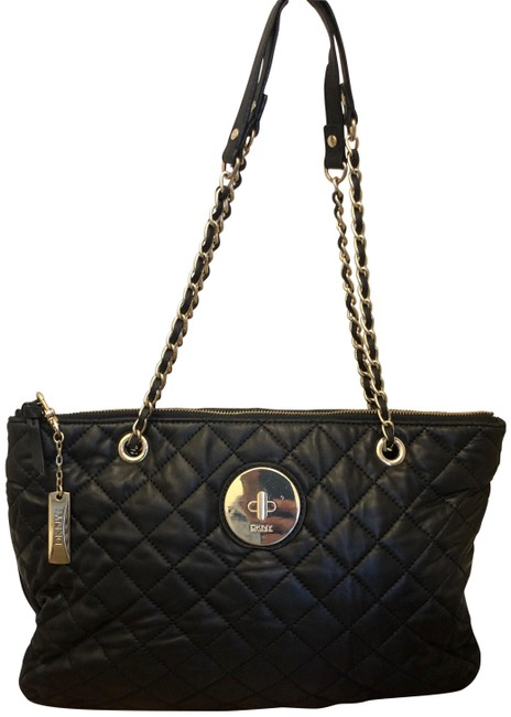 Dkny Tote Black Quilted Lambskin