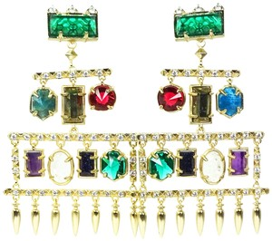 Kendra Scott KENDRA SCOTT Emmylou Gold Plated Multi-Color Stones Statement Earrings