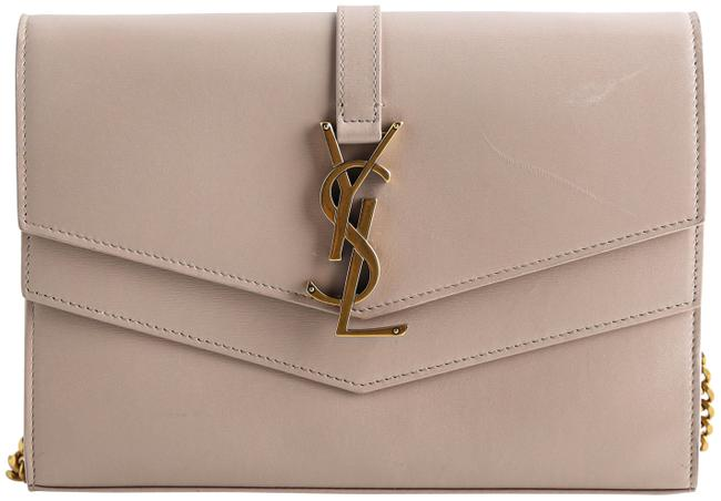 Item - Wallet on Chain Sulpice Neutral Monogram Ysl V-flap Beige Calfskin Leather Cross Body Bag