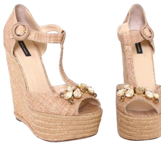 Item - Beige Raffia Embellished Wedges Size EU 41 (Approx. US 11) Regular (M, B)
