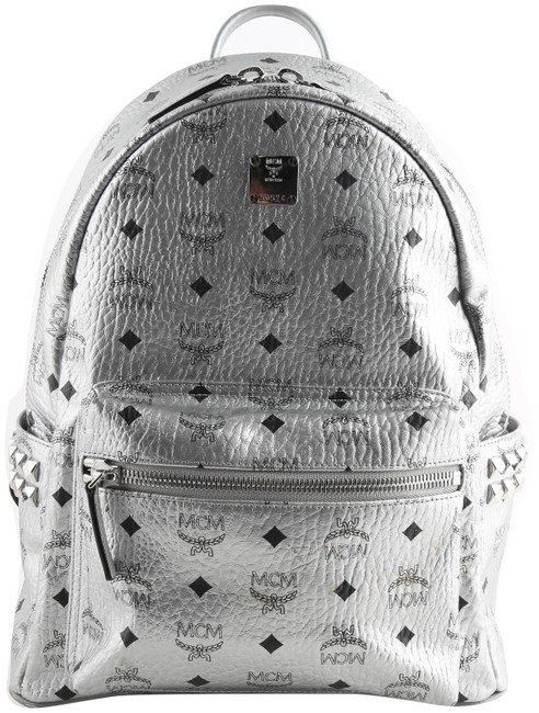 Item - Stark Side Studs Metallic Visetos Silver Canvas Backpack