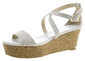 Jimmy Choo Fabric Cork Leather Crisscross Strap White Sandals