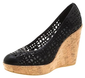 Stuart Weitzman Leather Platform Cork Black Pumps