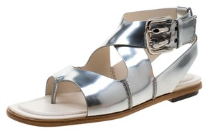 Tod's Metallic Leather Crisscross Strap Silver Flats