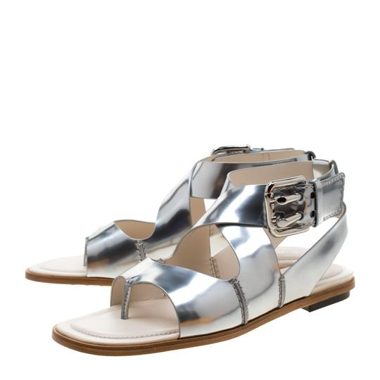 Tod's Metallic Leather Crisscross Strap Silver Flats Image 1