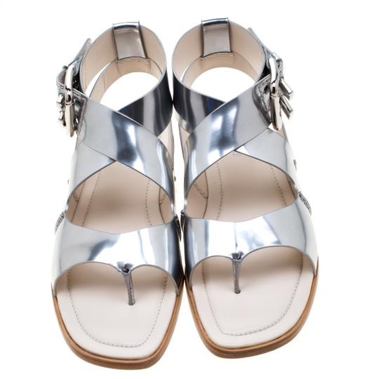 Tod's Metallic Leather Crisscross Strap Silver Flats Image 2