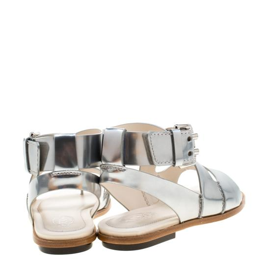 Tod's Metallic Leather Crisscross Strap Silver Flats Image 3