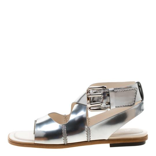 Tod's Metallic Leather Crisscross Strap Silver Flats Image 5