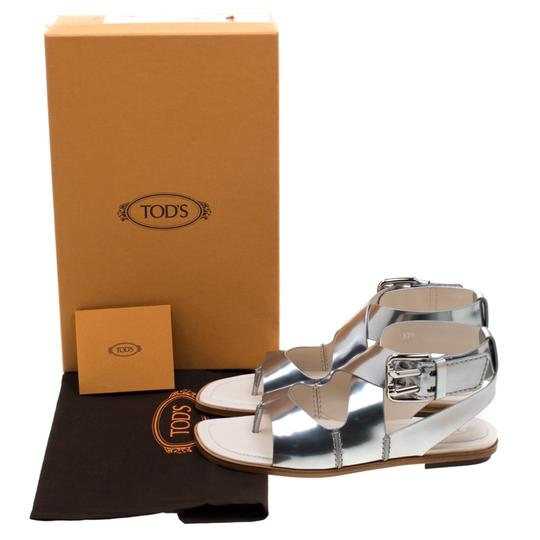 Tod's Metallic Leather Crisscross Strap Silver Flats Image 7