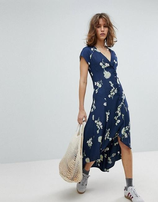 Blue Floral Maxi Dress by Free People Image 3