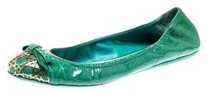 Dior Leather Metal Patent Leather Green Flats