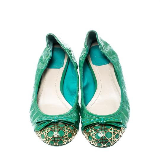 Dior Leather Metal Patent Leather Green Flats Image 1