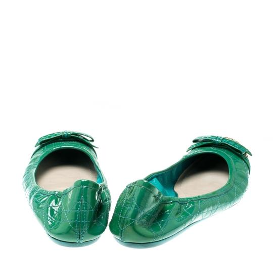 Dior Leather Metal Patent Leather Green Flats Image 2