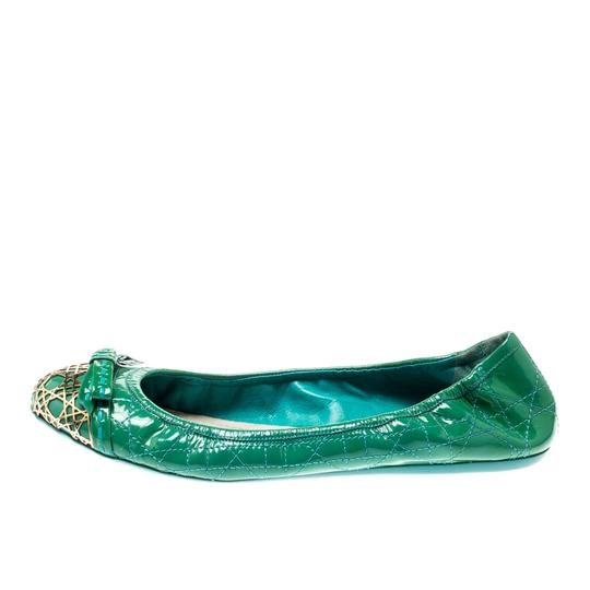 Dior Leather Metal Patent Leather Green Flats Image 3