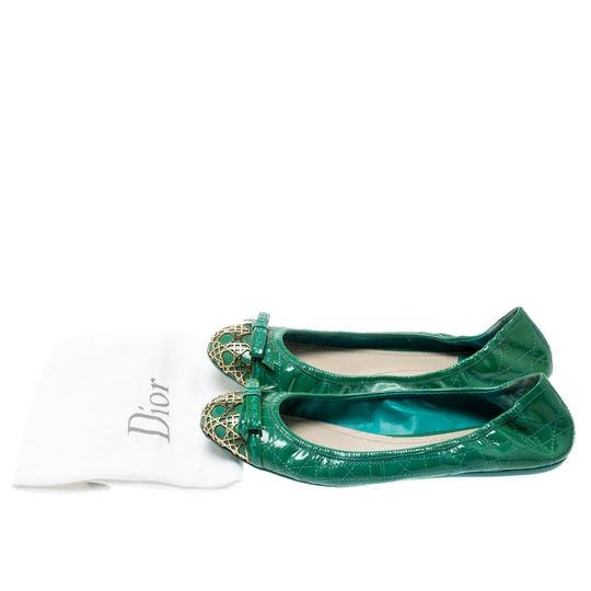 Dior Leather Metal Patent Leather Green Flats Image 6