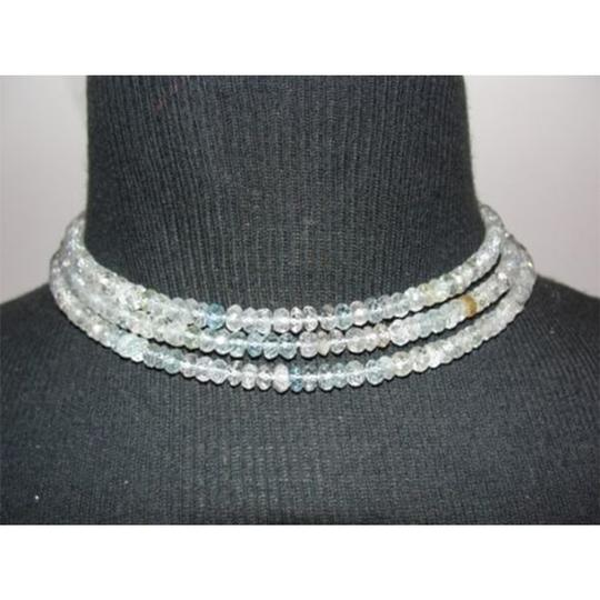 vintage Faceted Aquamarine Rondelle Beaded Opera Length Necklace Image 2