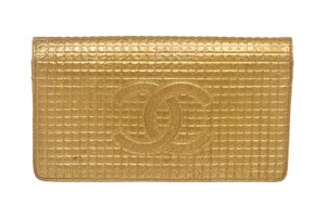 Chanel Chanel Gold Textured Leather CC Flap Bi Fold Wallet
