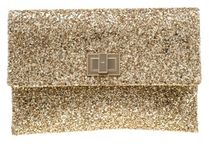 Anya Hindmarch Coated Fabric Leather Glitter Suede Gold Clutch