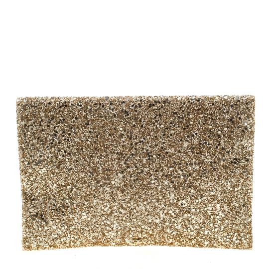 Anya Hindmarch Coated Fabric Leather Glitter Suede Gold Clutch Image 1